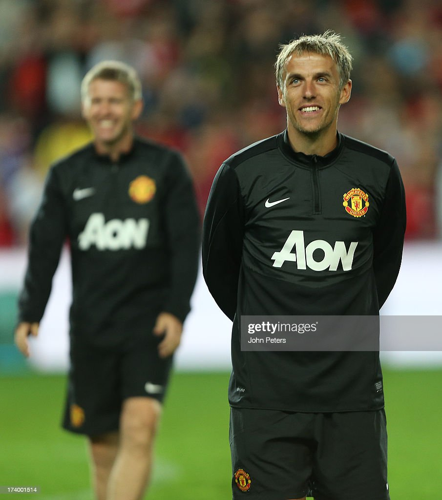 First Team Coach Phil Neville of Manchester United in action during a first team training session as part of their pre-season tour of Bangkok, Australia, China, Japan and Hong Kong on July 19, 2013 in Sydney, Australia.