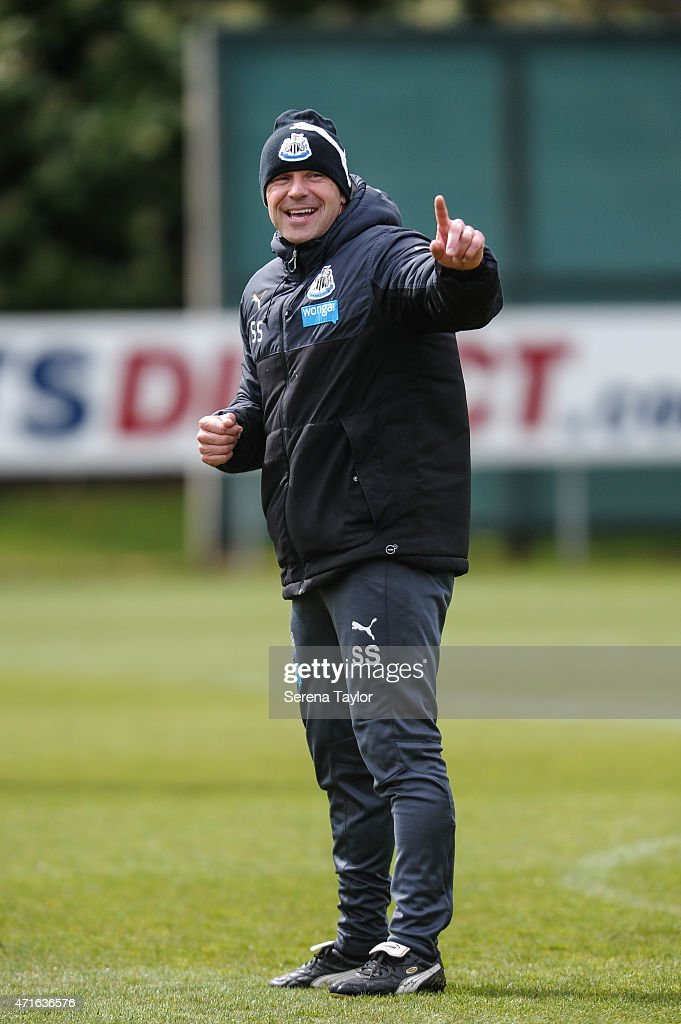First Team Coach Steve Stone stands on the pitch and points his finger during a Newcastle United Training session at The Newcastle United Training Centre on April 30, 2015, in Newcastle upon Tyne, England.