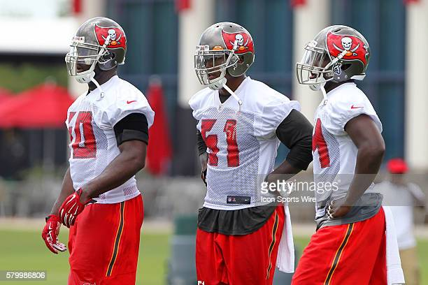 First team linebackers Bruce Carter Danny Lansanah and Lavonte David during the Buccaneers OTA at One Buccaneer Place in Tampa Florida