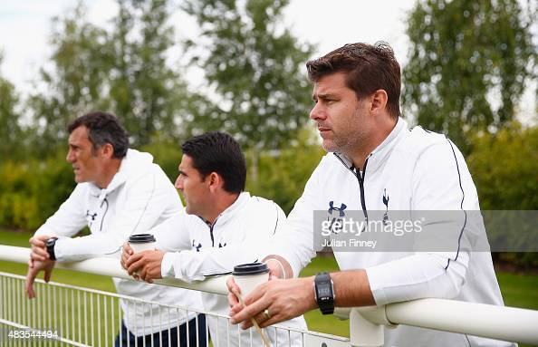 First team manager Mauricio Pochettino watches on during the Barclays U21 Premier League match between Tottenham Hotspur U21 and Everton U21 at...