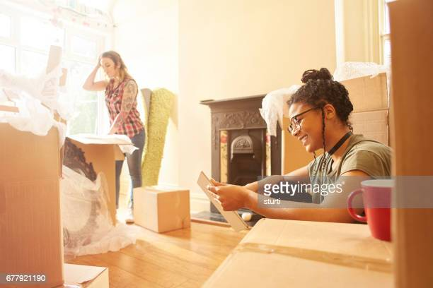 first time buyers unpacking in their new home
