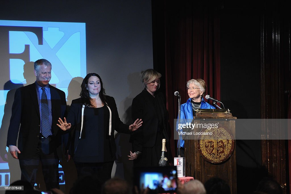First Time Fest Director of Programming David Schwartz, Co-Founders of First Time Fest Mandy Ward and Johanna Bennett, and actress Ellen Burstyn address the audience during the 2013 First Time Fest closing night awards at The Players Club on March 4, 2013 in New York City.