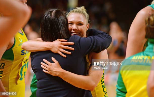 First time player Australia's Kate Maloney gets a hug from Australian coach Lisa Alexander during the 2017 Constellation Cup match between the...
