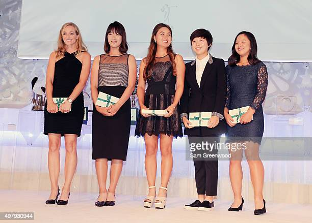 First time winners pose on stage Kris Tamulis Chella Cho of South Korea Minjee Lee of Australia Hyo Joo Kim and Sei Young Kim of South Korea pose on...