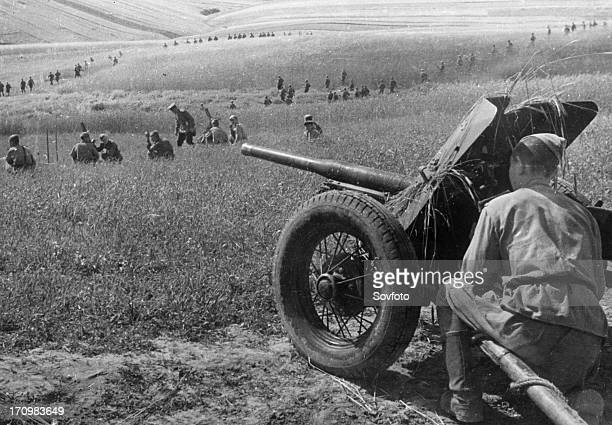 First ukranian front an antitank gun supporting advancing soviet infantry