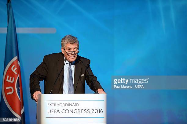 First VicePresident Angel Maria Villar Llona speaks at the 12th Extraordinary UEFA Congress at the Grand Resort Lagonissi Hotel on September 14 2016...