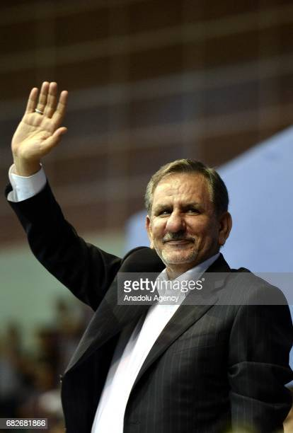 First VicePresident of Iran Eshaq Jahangiri greets the crowd at the Azadi Sport Complex ahead of the presidential elections that will be held on 19th...
