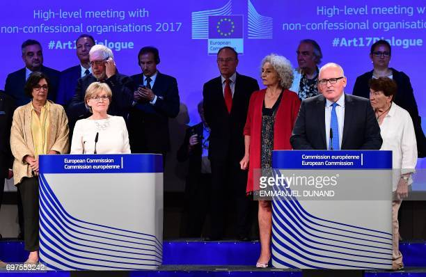 First VicePresident of the European Commission Frans Timmermans First VicePresident of the European Parliament Mairead McGuinness in the presence of...