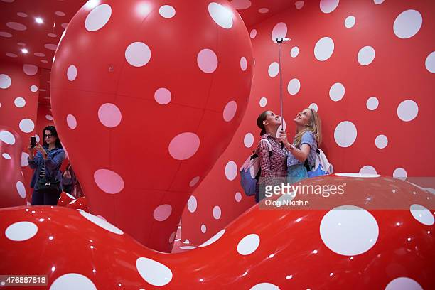 First visitors in Rem Koolhaasdesigned new building of Garage Museum of Contemporary Art in Gorky Park on June 12 2015 in Moscow Russia Garage Museum...