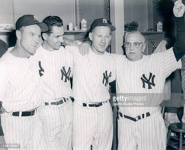 First World Series Heroes Hank Bauer Jerry Coleman Whitey Ford and Manager Casey Stengel photographed on October 16 1957