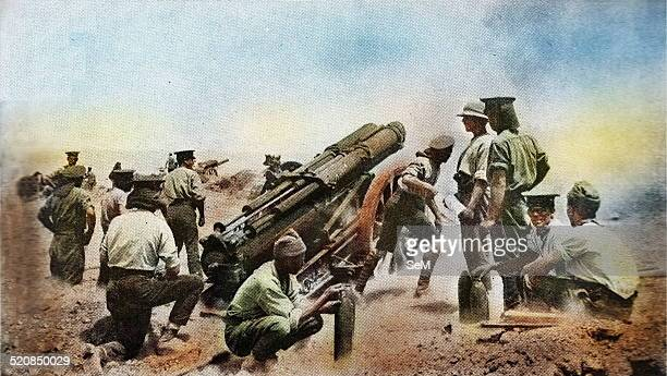 First World War 1914 1918 Gallipoli Australian Artillery in action against the defenses turkish army during the campaign in the Dardanelles The...
