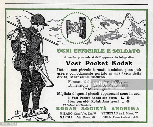 advertisement for Vest Pocket Kodak cameras ' Every officer and soldier should procure the Vest Pocket Kodak camera ' Milan Venice Naples Rome 1915