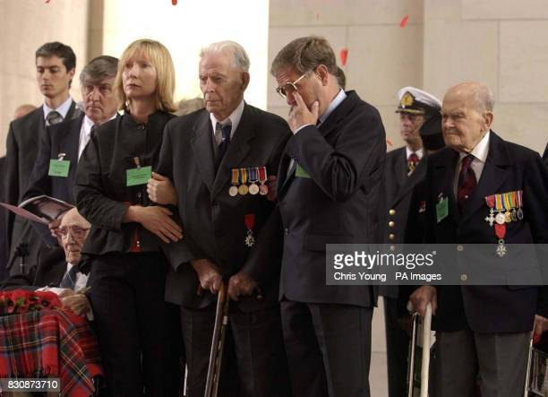 First World War veterans Jack Davis from Stoke Hammond Buckinghamshire Harry Patch from Wells Somerset and Arthur Halestrap stand with unidentified...