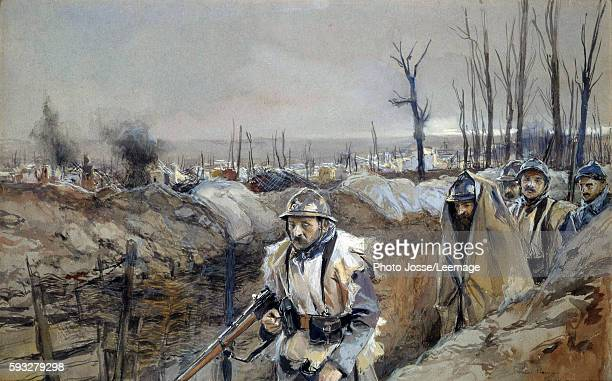 'View of Souchez French soldiers in a trench December 1915' Watercolour painting by Francois Flameng December 1915 03 x 048 m Army Museum Paris