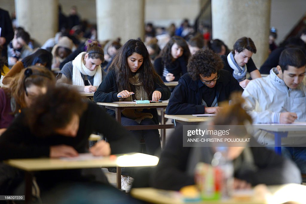 First year medical students get ready to pass their first semester examination on December 11, 2012 at Marseille's medical university of La Timone.