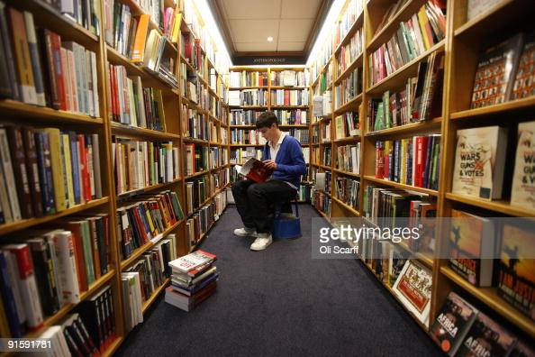 First year student Tom Partington peruses the books in Blackwell bookshop as Oxford University commences its academic year on October 8 2009 in...