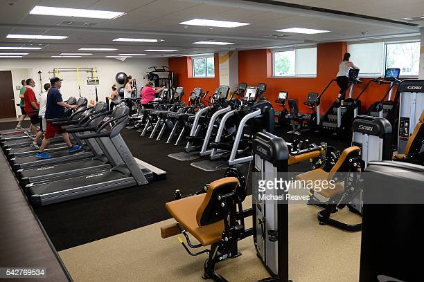 FirstBank's new workout facility located in the basement of their new corporate headquarters in Lakewood which opened after two years of construction...