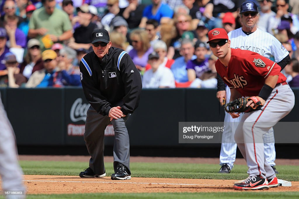 Firstbase umpire Jeff Kellogg oversees the action between the Arizona Diamondbacks and the Colorado Rockies at Coors Field on April 21, 2013 in Denver, Colorado. The Diamondbacks defeated the Rockies 5-4.
