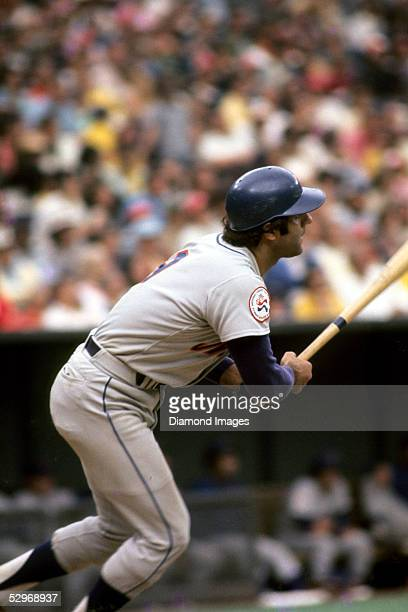 Firstbaseman Joe Torre of the New York Mets follows the flight of the ball he's just hit during a game in May 1976 against the Cincinnati Reds at...