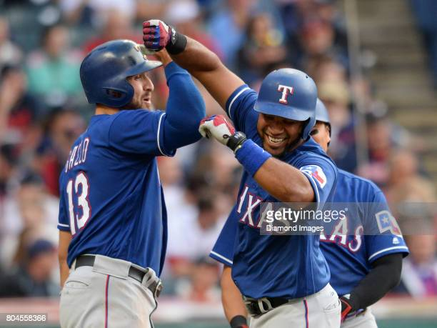 Firstbaseman Joey Gallo and shortstop Elvis Andrus of the Texas Rangers celebrate after a threerun home run by Andrus in the top of the second inning...