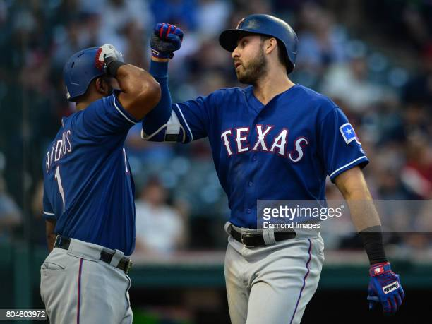 Firstbaseman Joey Gallo of the Texas Rangers celebrates with shortstop Elvis Andrus after a home run by Gallo in the top of the fourth inning of a...