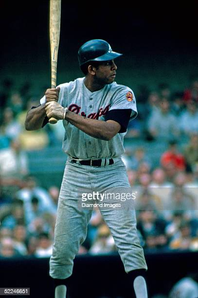 Firstbaseman Orlando Cepeda of the Atlanta Braves at bat during a game against the Pittsburgh Pirates at Forbes Field in Pittsburgh during the 1970...