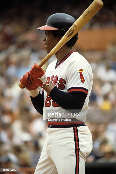 Firstbaseman Rod Carew of the California Angels gets set for the next pitch during a game in August 1979 at Anaheim Stadium in Anaheim California