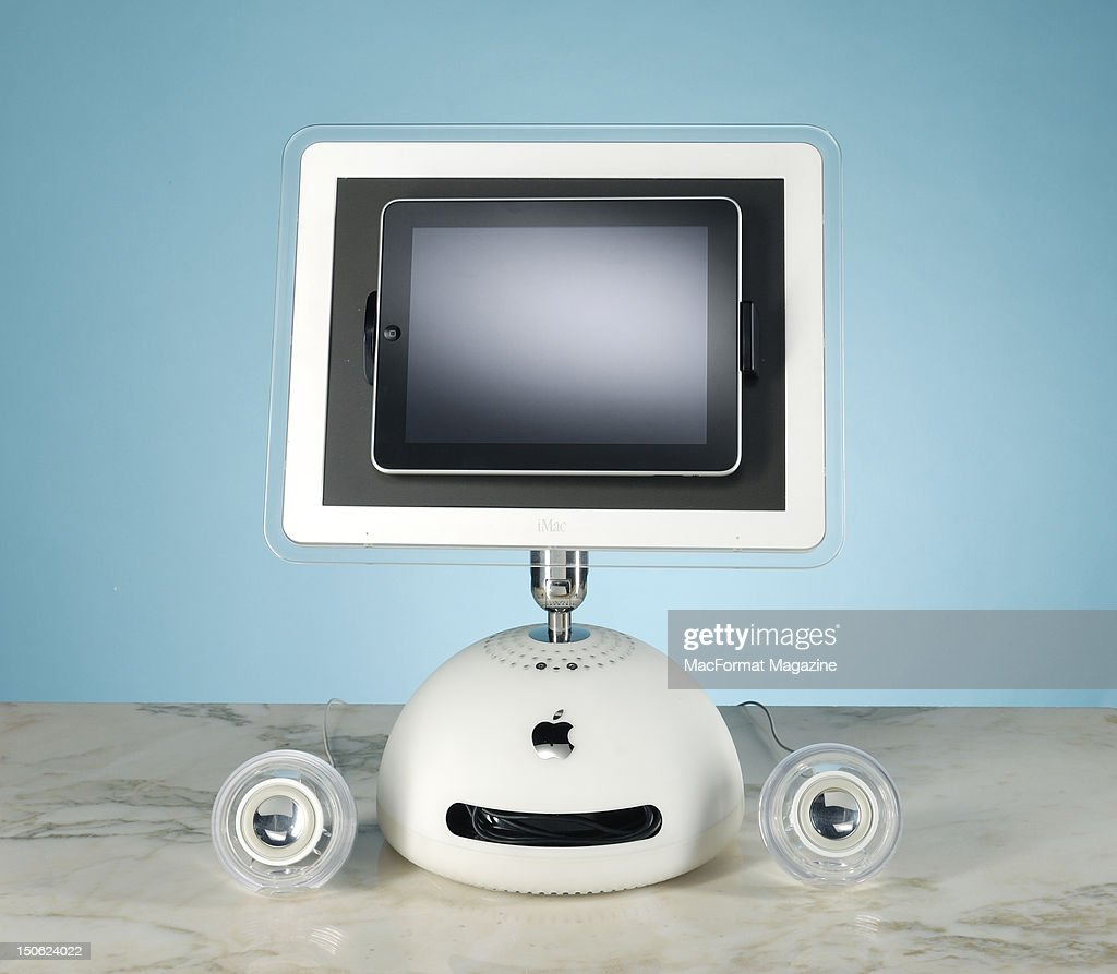 A first-generation Apple angle-poise iMac computer converted into a modern iPad doc, session for MacFormat Magazine taken on June 22, 2011.