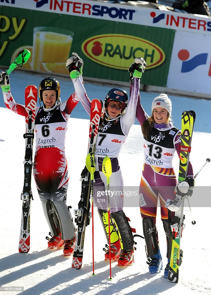 First-placed US Mikaela Shiffrin (C), Austria's second-placed <a gi-track='captionPersonalityLinkClicked' href=/galleries/search?phrase=Kathrin+Zettel&family=editorial&specificpeople=2113891 ng-click='$event.stopPropagation()'>Kathrin Zettel</a> (L) and third-placed <a gi-track='captionPersonalityLinkClicked' href=/galleries/search?phrase=Nina+Loeseth&family=editorial&specificpeople=4157062 ng-click='$event.stopPropagation()'>Nina Loeseth</a> of Norway (R) celebrate on the finish line after the FIS alpine women's slalom competition on the Sljeme mountain, in Zagreb on January 4, 2015.
