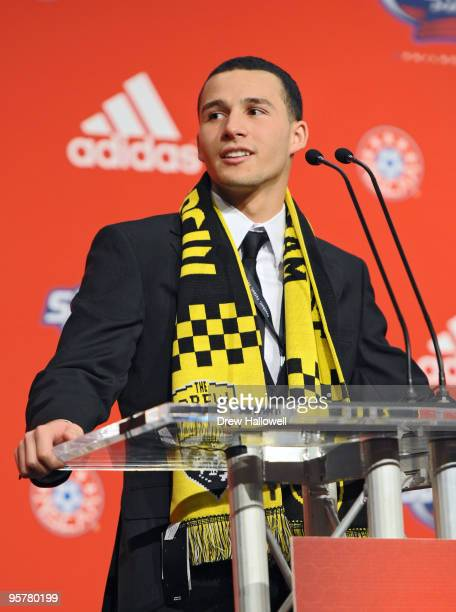 Firstround draft pick Dilly Duka of the Columbus Crew addresses the crowd during the 2010 MLS SuperDraft on January 14 2010 at the Pennsylvania...