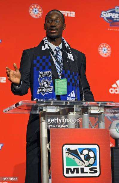 Firstround draft pick Ike Opara of the San Jose Earthquakes addresses the crowd during the 2010 MLS SuperDraft on January 14 2010 at the Pennsylvania...