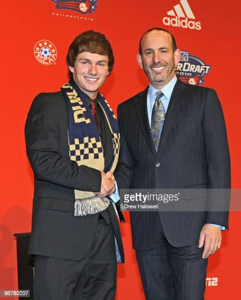 Firstround draft pick Jack McInerney of the Philadelphia Union and Major League Soccer commissioner Don Garber pose for a photograph during the 2010...