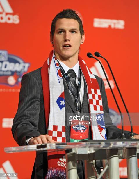 Firstround draft pick Zach Loyd of FC Dallas addresses the crowd during the 2010 MLS SuperDraft on January 14 2010 at the Pennsylvania Convention...