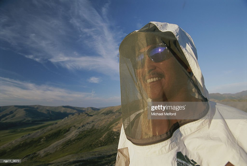 A Firth River expedition member in protective clothing. : Stock Photo