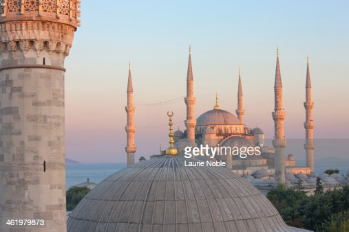 Firuz Aga and Blue Mosque at sunset, Istanbul