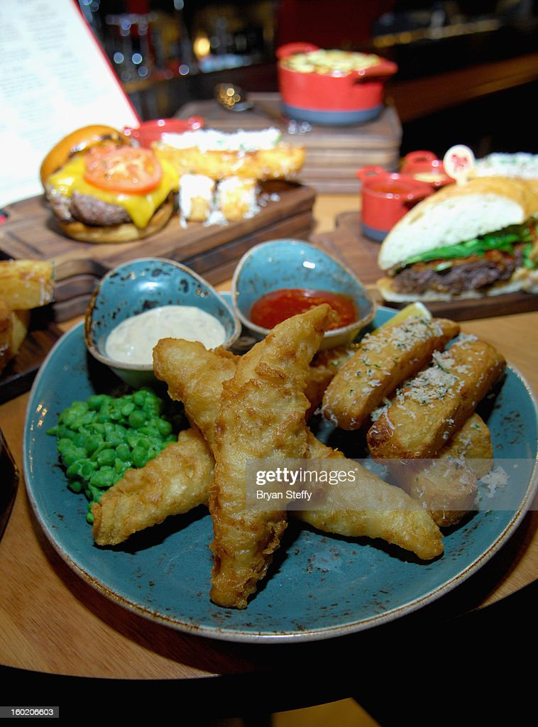 A fish and chips dish is displayed at television personality and chef Gordon Ramsay's during a traditional Sunday Roast at Gordon Ramsay Pub & Grill at Caesars Palace in celebration of the opening of the restaurant as well as Gordon Ramsay BurGR at Planet Hollywood Resort & Casino on January 27, 2013 in Las Vegas, Nevada.