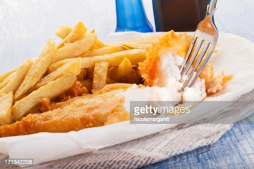 Fish and chips in newspaper stock photo getty images for Fish and chips newspaper