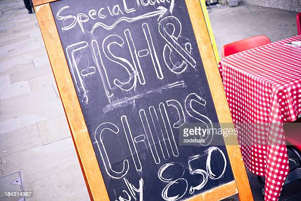 Fish and Chips Menu, London, Uk
