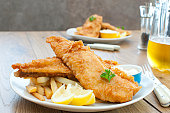 Fried fish fillets with chips