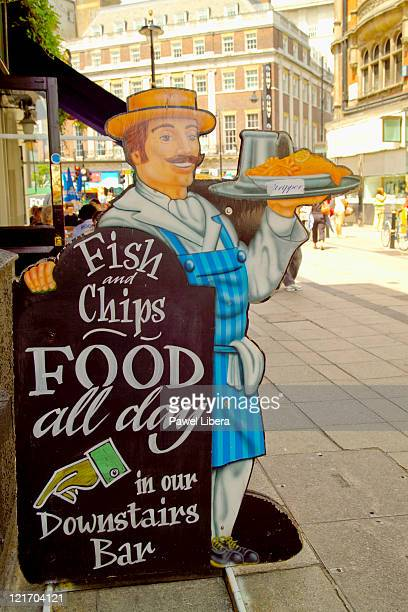 Fish and Chips Shop Sign in Oxford Street, West End, London, UK