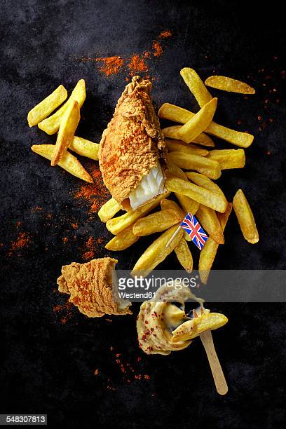 Fish and chips with mayonnaise
