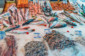 Fish and seafood at the Vucciria market in Palermo, Sicily