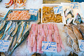 Fish and seafood for sale at the Vucciria market in Palermo
