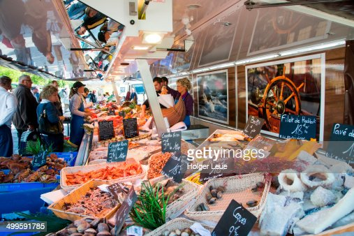 Fish and seafood stand at Sunday farmers market