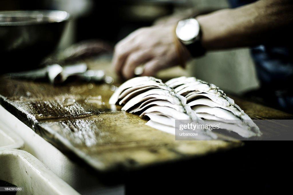 Fish being prepared
