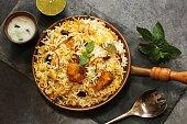 Fish Biryani with basmati rice Indian food