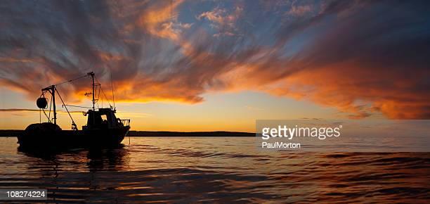 Fish Boat at Sunset Panorama