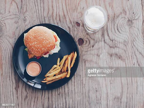 Fish burger with fries