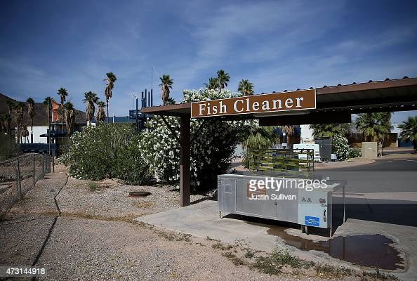 A fish cleaning station leaks water at the abandoned Echo Bay Resort on May 12 2015 in Lake Mead National Recreation Area Nevada As severe drought...