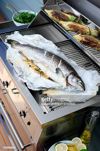 Fish cooking on outdoor grill